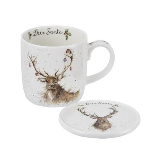 Deer Santa Mugg & Glasunderlägg, 31 cl