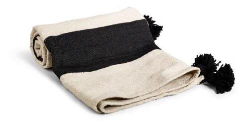 Day home Piles Filt 90% Bomull 10% Ull 150x150 cm Natur/svart