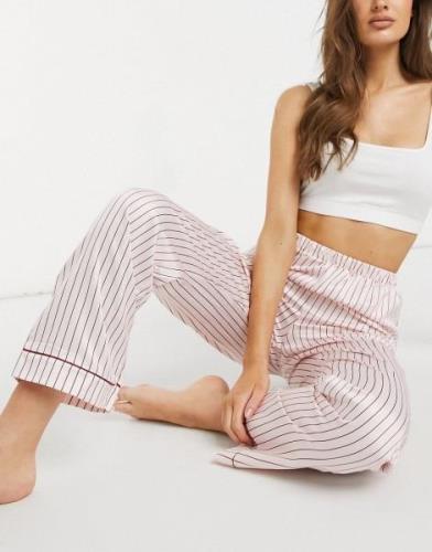 Loungeable – Krämfärgade randiga pyjamasbyxor i satin-Flera färger