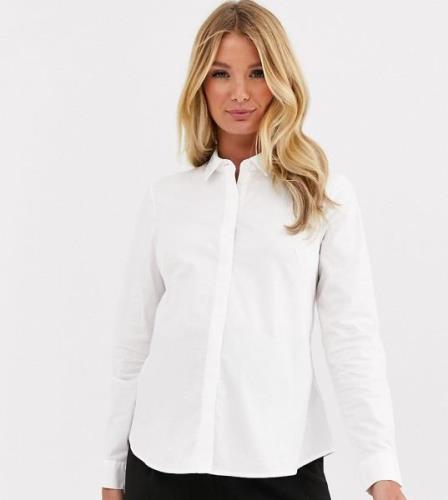 ASOS DESIGN Maternity – Vit figursydd bomullsskjorta med lång ärm och ...