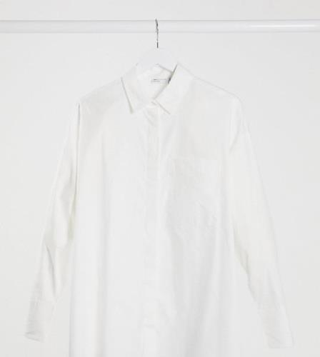 ASOS DESIGN Maternity – Vit långärmad boyfriendskjorta i bomull-Vita
