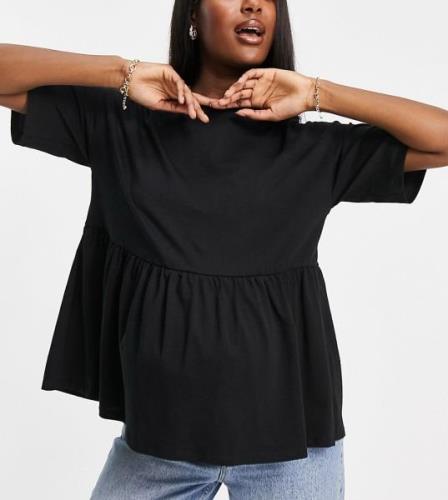 ASOS DESIGN Maternity Casual smocktopp-Svart
